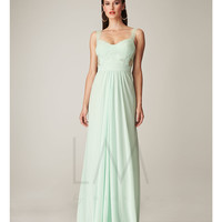 LM by Mignon HY1046 Mint Bandage Bodice & Lace Back Dress 2015 Prom Dresses