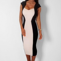 Preference Nude & Black Sweetheart Illusion Midi Dress | Pink Boutique