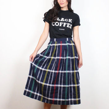Vintage Midi Skirt 1980s Navy Blue Rainbow White Red Plaid High Waisted Knee Length Skirt 80s Preppy School Girl Long Kilt L Extra Large XL