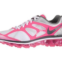 Womens Nike Air Max+ 2012 Running Shoes White / Dark Grey / Pink Flesh / Metallic Silver 487679-106 Size 7