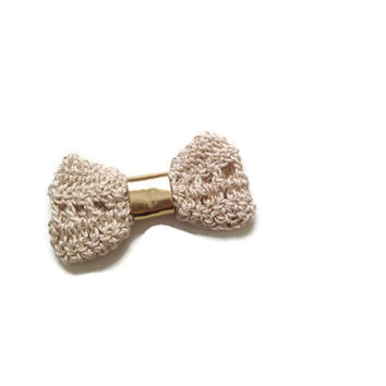 Handmade crocheted bow tie in gold