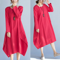 Women Dress Plus Size Solid Linen Spring Dresses O-Neck Full Sleeve Female Vintage Clothing Loose Elegant Casual Red New Dress