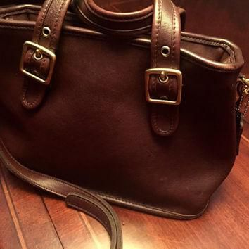 Beautiful Vintage Brown Leather Authentic Coach Crossbody Bag with Handles,Made in USA