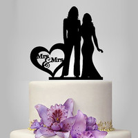 Lesbian wedding cake topper, same sex wedding, mrs and mrs wedding cake topper with heart decor, lesbian silhouette, 2 bride cake topper