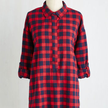 Long Long Sleeve You Camp Do It! Tunic in Crimson