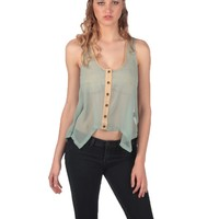 Lucca Couture Sleeveless Button Down Top - Seafoam