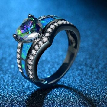 Vintage Fashion Black Gold Filled Charm Multicolor Heart Zircon Black Fire Opal Ring