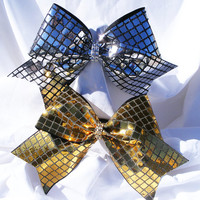 Cheer bow- Gold or sliver mirrored sqared with rhinestone center -cheerleading bow- dance bow- cheerleader bow- softball bow
