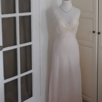 Vintage 1940s Nightgown, Pink, Rayon, Bias Cut, Embroidery, Lingerie, Saks Fifth Ave, Size M/L