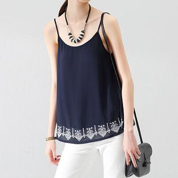 Geometric Embroidery Sleeveless Spaghetti Strap Backless Chiffon Blouse