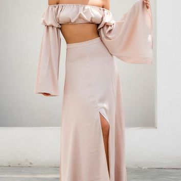 Lady In Waiting Apricot A Line Front Slit Maxi Skirt