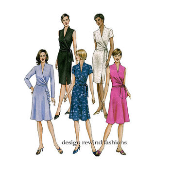 VOGUE DRESS PATTERN V-Neck Cocktail Day Dress Wrap Bodice Summer Dress Vogue 8182 2000s Womens Sewing Patterns Bust 30.5 31.5 32.5 UNCuT