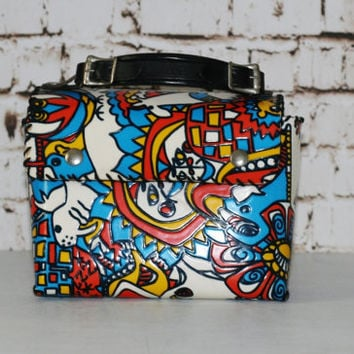 60s Lunch Box Leather Handel Abstract Animals Psychedelic Colorful Floral Flowers Handbag Purse Bag Black White Hippie Boho Goovy 70s vinylp