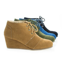 Paddy01 Round Toe Lace Up Hidden Wedge Heel Ankle Bootie