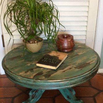 Vintage Round Blue Coffee Table 1940s