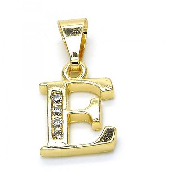 Gold Layered 05.26.0017 Fancy Pendant, Initials Design, with White Cubic Zirconia, Polished Finish, Golden Tone