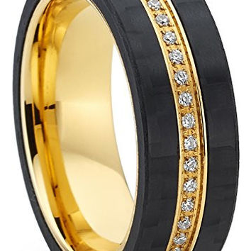 GoldTone Titanium Men's Eternity Wedding Band Ring with Cubic Zirconia CZ and Carbon Fiber Edges | FREE ENGRAVING
