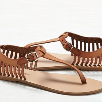 AEO Women's Cutout T-strap Sandal (Natural)