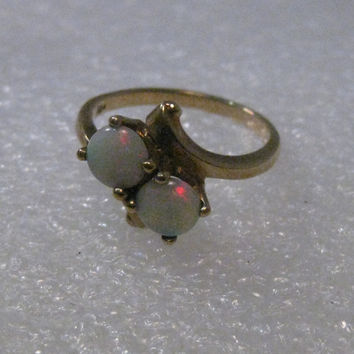 Vintage 14kt Double Opal Bypass Ring/Engagement Ring, sz. 6, Mid-Century, 2.70 grams