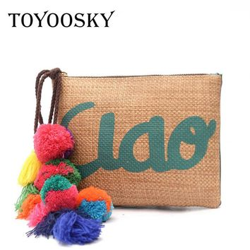 TOYOOSKY 2017 Women Straw Handbags Colorful Pompom Day Clutches Summer Bag Small Ladie Bags Wristlets Lady Casual Envelope Purse
