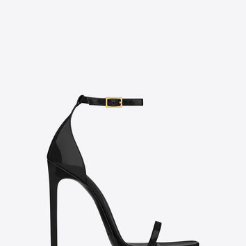 Saint Laurent CLASSIC JANE ANKLE STRAP 110 SANDAL IN BLACK PATENT LEATHER | ysl.com