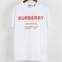 Burberry 2019 new big letter logo casual fashion short-sleeved T-shirt white