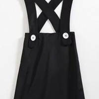 Plain Crisscross Button Short Overalls Dresses