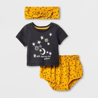 Baby Girls' 3pc T-Shirt, Bloomer and Headwrap Set - Cat & Jack™ Black/Gold