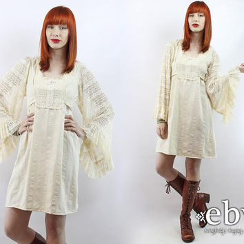 Vintage 70s Cream Lace Angel Sleeve Mini Dress XS S Hippie Dress Boho Wedding Dress Hippie Wedding Dress Hippy Dress Festival Dress