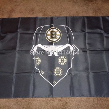 Boston Bruins Skull mask  Flag NHL  3x5FT Banner 100D Polyester flag brass grommets , free shipping