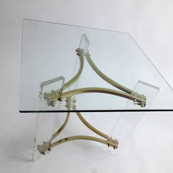 Charles Hollis Jones' Side Table. Mid Century Modern Lucite and Brass.