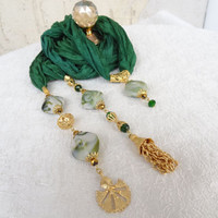 Green Scarf,Turkish Silk Jewelry,Scarf Necklace,Jewelry Scarf,Gold Necklace,Scarf Jewelry,Elegance Scarf,Gift for Her,Mother's Day Gifts
