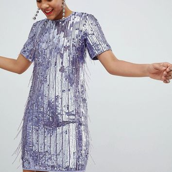 ASOS DESIGN Tall mini shift dress in heavily embellished fringed sequin at asos.com