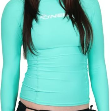 O'Neill Women's Basic Skins Long Sleeve Rash Guard - light aqua - Surf Shop > Women's Surf > Women's Wetsuits > Women's Rash Guards > Women's Long Sleeve Rash Guards
