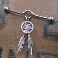 Industrial Piercing Barbell Dream Catcher Feather Charm Amethyst Dreamcatcher Dangle 14 Gauge 14g G Bar