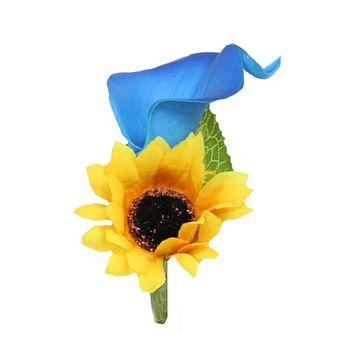 Boutonniere-Real Touch calla lily with sunflower-Royal Blue Yellow theme