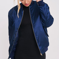 Cruz Navy Satin Bomber Jacket - Coats & Jackets - PrettylittleThing | PrettyLittleThing.com