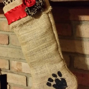 Cheetah Print And Burlap - Cat Stocking - Handmade- Free Personalization! ! I