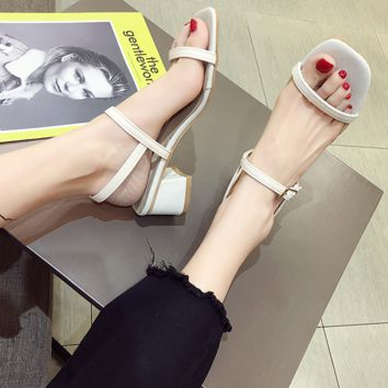 Sexy square-toed open-toed high-heeled shoes with wide-set thick heels and one-word buckle