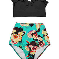 Black Midkini Top and Flora High Waisted Waist High-waist High-waisted Flattering Swimsuit Swimwear Bikini Bathing suit wear clothing S M