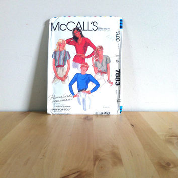McCalls 7883 Misses' Blouse in Four Styles {1982} Vintage Sewing Pattern