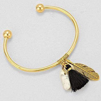 Leaf, Stone, and Black Tassel Gold Cuff Bracelet