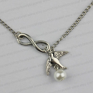 Infinity bird & pearl necklace, friendship charm necklace