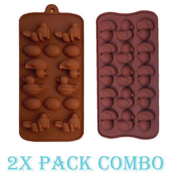 2 Pack Combo Silicone Mold Easter Duck Rabbit Egg candy Ice cube Tray Chocolate