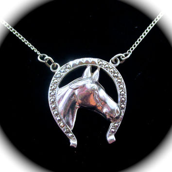 Vintage LUCKY HORSESHOE NECKLACE Sterling Silver Figural Horse Head in Marcasite Horse Shoe Pendant  Necklace