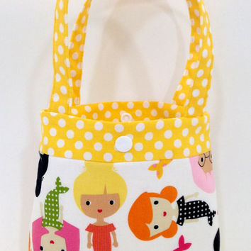 Toddler tote little girl purse mermaid tote pink tote blue purse little girl birthday gift toddler gift tot tote water resistant lining