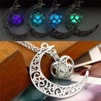 Necklace women moon love heart night jewelry Glow in the Dark Pendant with 48cm chain free plus shipping