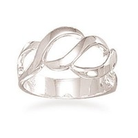CleverSilver's Cut Out Design Polished Sterling Silver Ring