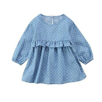 Infant Toddler Baby Girls Kids Denim Dress Princess Party Dot Tutu Tulle Dresses Straight Knee-Length Dress 0-3Years