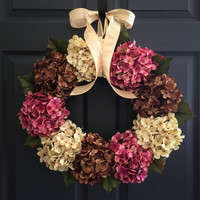Summer Hydrangea Wreath - Summer Wreath - Front Door Wreaths - Fall Wreath - Outdoor Wreaths - Summer Door Wreaths - Door Wreath